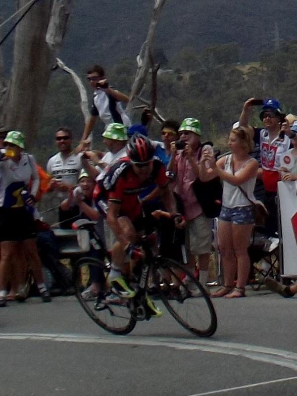 Cadel takes the KOM.