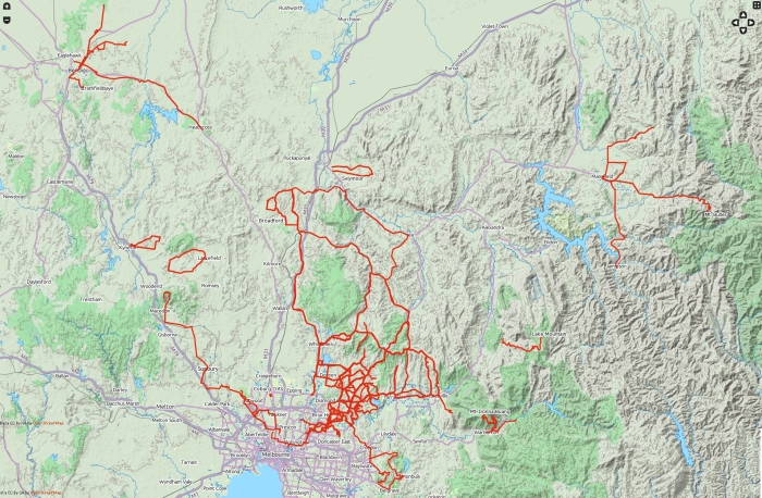 My cycling routes: Oct 2012 - December 2013.  (click to enlarge)