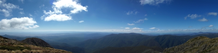 The view from the summit of Mt Buller. Mansfield at left.