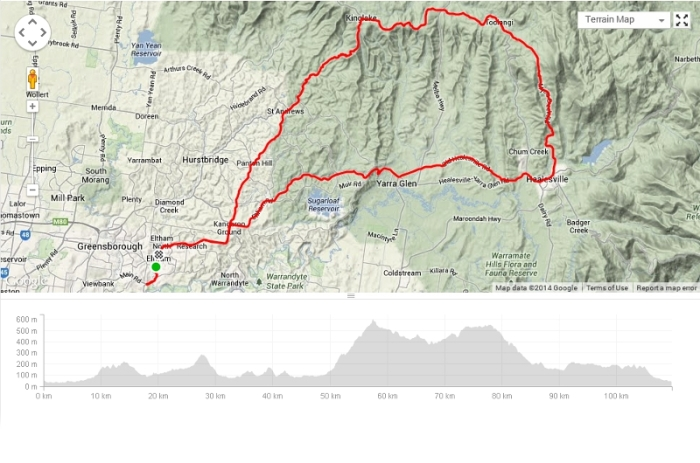 Myers Creek - Kinglake loop. 111km ~ 2000m elevation.