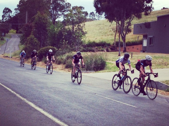 Leading the remaining bunch at the start of lap 4. Photo: Alex M