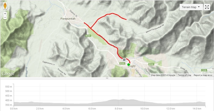Stage 1 course map (including the roll from my motel).