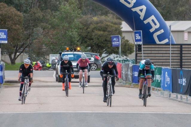 The final sprint -Womens B/C lead selection. Photo: Cycling Victoria facebook