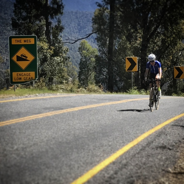 Cresting 'The Meg', one of the steepest sections of Mt Hotham.